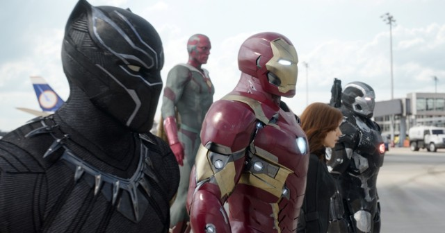 Marvel's Captain America: Civil War L to R: Black Panther/T'Challa (Chadwick Boseman), Vision (Paul Bettany), Iron Man/Tony Stark (Robert Downey Jr.), Black Widow/Natasha Romanoff (Scarlett Johansson), and War Machine/James Rhodey (Don Cheadle). Photo Credit: Film Frame © Marvel 2016